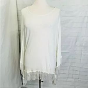 L*Space made in OC white fringe cover up